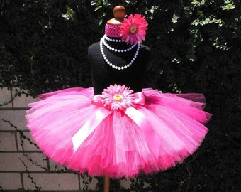"Hot Pink Tutu - Passion for Pink - Custom SEWN 10"" Tutu - sizes NB to 5T"