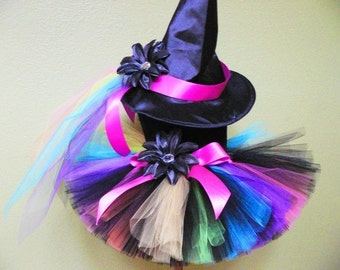 Witch Tutu Costume - Rainbow, the Punk Rock Witch - Custom Sewn - sizes Newborn up to 5T - Black with Bright Rainbow Colors Costume with Hat