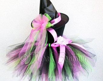 Tutu Witch Halloween Costume - Sorrel Witch - Custom Sewn 15'' Pixie Tutu & Witch Hat - sizes Newborn to 5T - perfect for Halloween