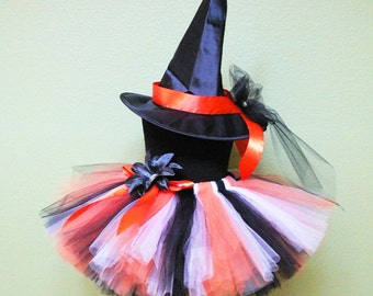 Halloween Witch - Custom Sewn Tutu Costume - Custom Decorated Witch Hat and Black White Orange Tutu - sizes up to 5T - perfect for Halloween