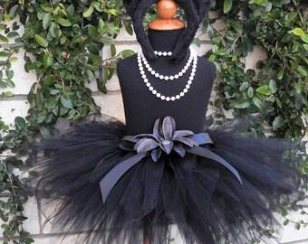 Midnight - Black Cat Tutu Costume Set - Sewn 11'' pixie tutu, kitty ears headband, removable tail - newborn up to 5T
