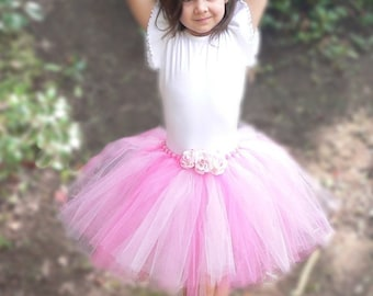 "Flower Girl Tutu Skirt - Pink Tutu - Custom Sewn 13"" Tutu -  Ballerina Princess - sizes newborn to 5T"