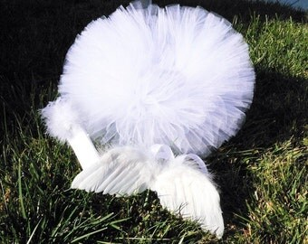 Angel Love - Infant Angel Tutu Wings Headband Set - Feather wings, 6'' tutu and headband - Newborn Photography Props and Baby Shower Gifts
