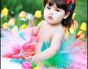 Girls Tutu, Dancing Rainbow Tutu, Custom Sewn 11'' Pixie Tutu