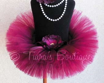 Valentine Tutu - Sewn Burgundy Girls Tutu - Ready To Ship - Sweet Cranberry - 8'' length - sizes Newborn to 5T