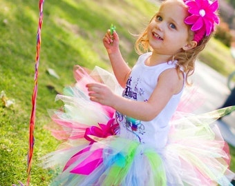 Girls Birthday Tutu and Headband Set - Tons of Fun - 11'' petite pixie tutu - Custom SEWN Tutu - M2M - sizes newborn up to 5T