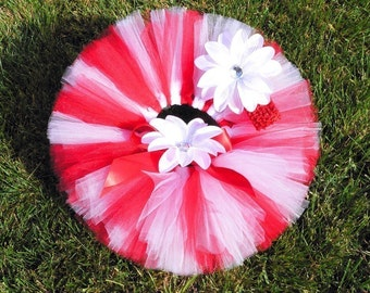 Red and White Christmas Tutu Set for Babies, Candy Cane, Valentine's Day
