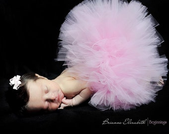 "Baby Tutu, Baby's First Tutu, 6"" Pink Tutu,Newborn Tutu & Headband, Tutu Set, sizes up to 12 months, 1st Birthday Tutu, Baby Shower Tutu"