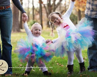 Girls Birthday Tutu and Headband Set, Design Your Own 8'' Custom SEWN tutu, You Pick Colors
