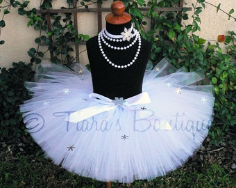 "Snow Angel Tutu - White Snowflake Embellished Tutu - Custom Sewn 10"" Tutu"