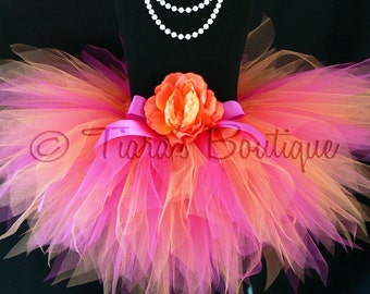 "Tutu - Girls Tutu - Birthday Tutu - Fuchsia Pink and Orange - Shine - Custom Sewn 11"" Pixie Tutu - Sizes Newborn up to 5T - Photo Prop"