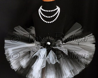 "Zebra Tutu - Girls Birthday Tutu Skirt - Black and White Tutu - Harmony Tutu - Custom Sewn 8"" Tutu - sizes Newborn to 5T"