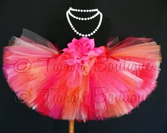 "Birthday Tutu - Tutu for Girls - Baby Tutu - Red Pink Orange Coral Tutu - Sunrise Tutu - Sewn 8"" Tutu - sizes newborn up to 5T - Photo Prop"
