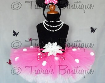 "Lovely Little Minnie - Custom Sewn 10"" Girls Tutu - hot pink and white with polka dots - sizes up to 5T - TUTU ONLY"