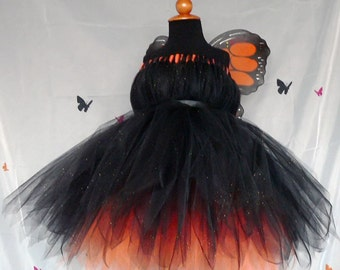 """Monarch Beauty - Custom Sewn Layered Pixie Tutu Dress - up to size 5T and 30"""" long - For Birthdays and Halloween"""