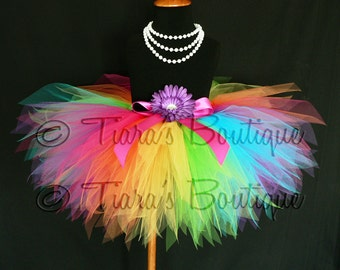 Tutu, Rainbow Tutu, Girls Tutu, Birthday Tutu Set, Flower Girl Tutu, St. Patrick's Day Tutu, 11'' Pixie Tutu, Aura, Magical Rainbow Tutu