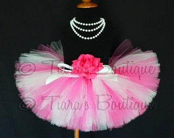 Sugar Pink - hot pink and white custom sewn 8'' tutu - sizes newborn up to 5T