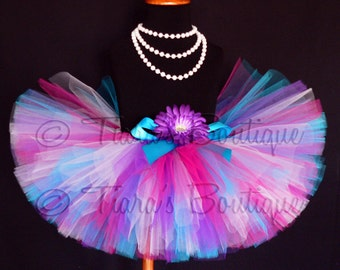 Bright Berry Princess - Hot Pink Blue Purple and White custom sewn 8'' tutu - sizes newborn up to 5T