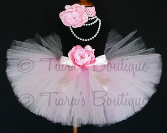 "Pink Tutu - Lovey Dovey - Custom Sewn Extra Full 10"" Tutu in - Includes a coordinating flower headband - sizes Newborn up to 5T"