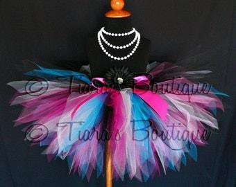 """Birthday Tutu, Dance Party Diva, 11"""" Pixie Tutu, Black White Fuchsia Turquoise Blue Hot Pink, Diva Tutu, Punk Rock Tutu, Rock n Roll Tutu"""