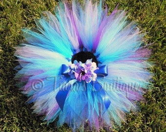 "Raina Tutu - Blues Purples Custom Sewn 8"" Infant Pixie Tutu - sizes Newborn to 12 months"
