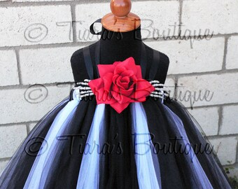 "Nightmares - Custom Tutu Dress w/ Skeleton Hands Inspired by Jack Skellington - up to 30"" long - sizes 2T up to 5T - MADE-To-Order"