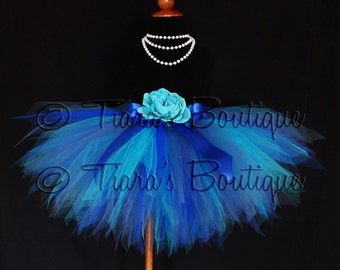 Blue Tutu for Girls, Christmas Winter Photo Prop Tutu, Frozen Birthday Tutu, Indigo, Turquoise Royal Blue Sewn Pixie Tutu Tulle Skirt