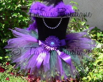 """Halloween Witch Tutu Costume - Jazmyn, the Woodland Witch - Green Purple - Sewn 9"""" Pixie Tutu & Witch Hat - sizes up to 12 months"""