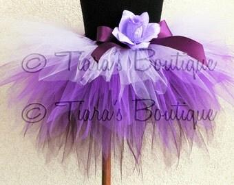 "Purplicious - Purple Lavender Tutu - Custom Sewn 12"" 3 Tiered Pixie Tutu & Headband Set for Infants, Toddlers - sizes up to 2T"