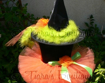 """Witch Tutu Costume Halloween - Penelope, the Pumpkin Witch - Orange Sewn 6"""" Tutu and Decorated Witch Hat - sizes up to 12 months"""