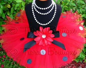 "Red Tutu - Ladybug Tutu - Birthday Tutu - Girls Tutu Skirt - Shimmering Ladybug - 8"" Sewn Lady Bug Tutu - sizes Newborn to 5T"