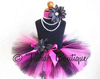 """Valentine's Day Tutu - Girls Tutu - Pink Black Tutu - Rockin' Valentine - Custom Sewn 8"""" Tutu - size Newborn to 5T"""
