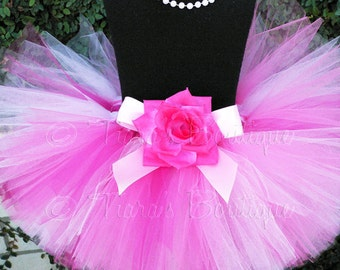 Pink Tutu for Valentine's day - Girls Tutu - Strawberry Dreams - custom sewn 8'' tutu - sizes newborn up to 5T