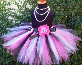 Birthday Tutu - Pink Black White Custom Pirate Pixie Tutu - Sewn 13'' pixie tutu - Skull and Crossbones Rose Clip