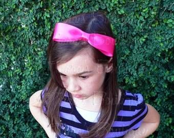 Pink Bow Headband - Hot Pink Headband - Fuchsia Headband - Photo Prop - Girls, Baby, Toddler, Teen, Adult Headband
