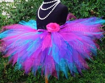 Girls Tutu Skirt - Berry Twist - Dance Tutu - Pink Purple Blue Tutu - Custom Sewn 11'' Birthday Pixie Tutu - girls size 6 to 8