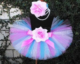 "pinks blues custom sewn 8"" tutu - SPECTACULAR BIRTHDAY - sizes newborn up to 5T"