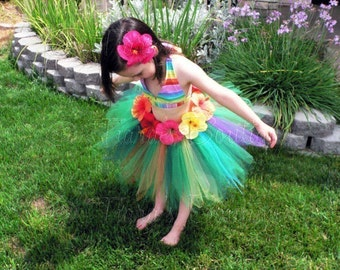 "Luau Birthday Party Tutu Set - Custom SEWN Grass Hula Skirt Tutu and Headband for Girls - Leilani - 15"" pixie tutu - Hibiscus Flower Tutu"