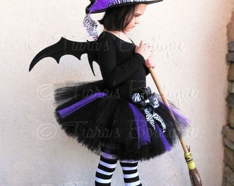 "Tutu Witch Costume - Willow, the Wild Witch - Black, Purple, and Zebra Sewn 10"" Tutu & Witch Hat - sizes Newborn to 5T - Wings Not Included"