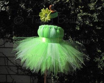 "Girls Tutu Dress - Birthday Tutu - Green Fairy Tutu - Halloween Costume - Tinkerbell - Sewn Pixie Dress - sizes 18-24 months, up to 20"" long"