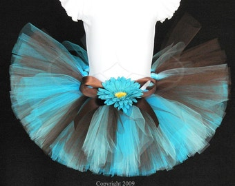 "Tutu for Girls, Baby, Toddler -Turquoise Blue and Chocolate Brown - Sea Breeze Tutu - Custom Sewn 8"" Tutu - sizes newborn up to 5T"