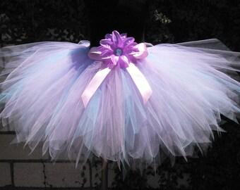 Purple Blue Pink Birthday Tutu, Spring Garden Pixie Cut Tutu Photo Prop, Flower Girl Tutu, Lavender Baby Blue and Pink Girls Birthday Tutu