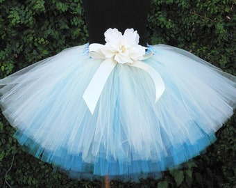 "Flower Girl Tutu Skirt for Weddings, Ocean Spray, Custom SEWN Three Tiered Tutu, 12"" length"