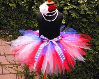 "Red White and Blue Tutu for 4th of July, Girls Tutu, Baby Tutu, Photo Prop Tutu, Sailor, 11"" pixie tutu, Military Tutu, Veteran's Day Tutu"