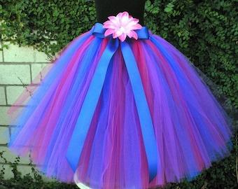 "Blue Fuchsia Pink Purple Tutu - Girls Long Tutu Skirt -  Flower Girl Tutu - Wild Berries - Custom sewn tutu up to 20"" - sizes up to 5T"
