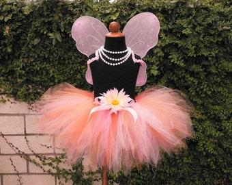 "Fairy Tutu Set, Girls Tutu Set, 11"" Pixie Tutu and Fairy Wings, Tutu and Wings, Orange Blossoms, Baby Tutu Costume, Pink Tutu, Peach Tutu"