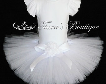 "Tutu for Girls - Birthday Tutu - White Tutu - Custom Sewn Tutu - Up to 10"" - sizes up to 5T - Baby Toddler Girls Tutu Skirt"
