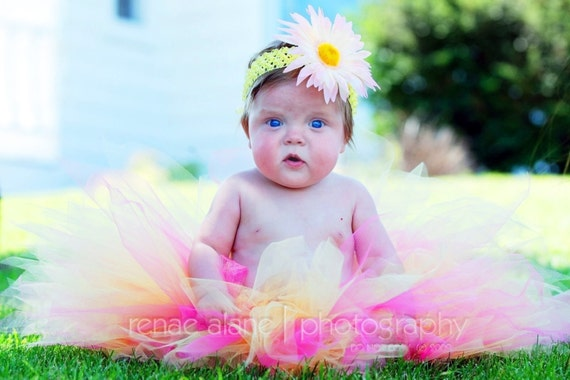 "Girls Tutu Set - Hot Pink Yellow Tutu - RANI - Custom SEWN 11"" Pixie Tutu and Headband - sizes newborn up to 5T - 1st birthday tutu"