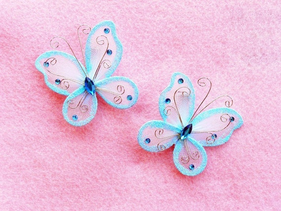 Set of 2 Light Blue Butterfly Barrettes - get a pair to match your tutu