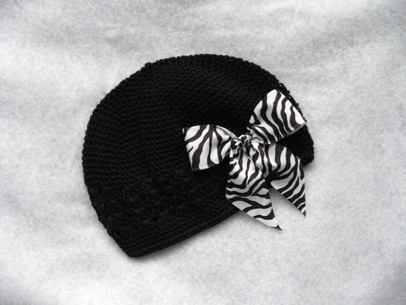 Posh Punk Beanie Set - Black Beanie Hat with Removable Zebra Bow Clip - get one to match your tutu